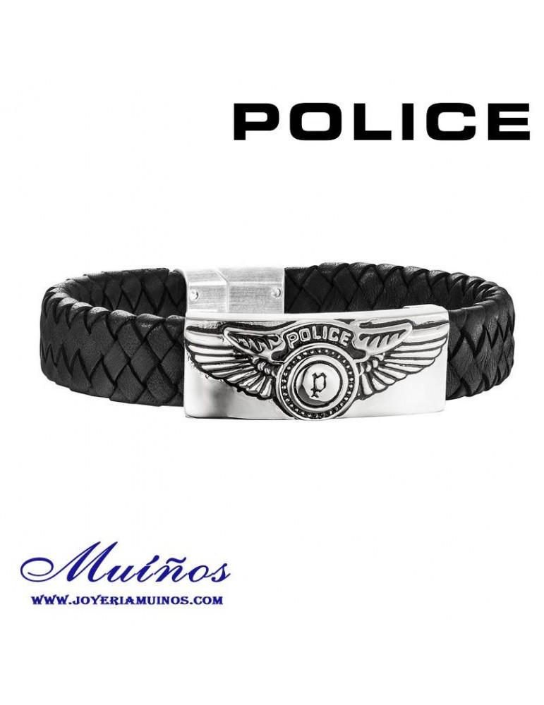 Pulsera Police cuero y acero para hombre