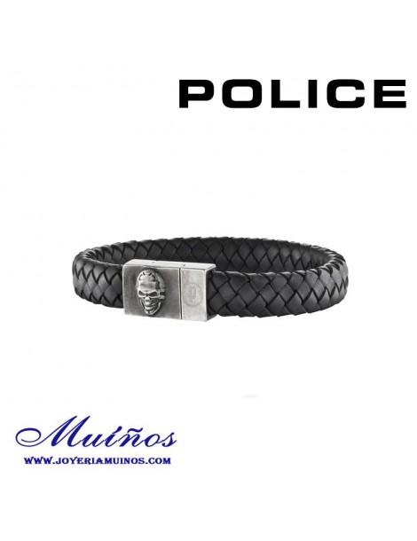 Pulsera Police hombre y cuero trenzado con imán