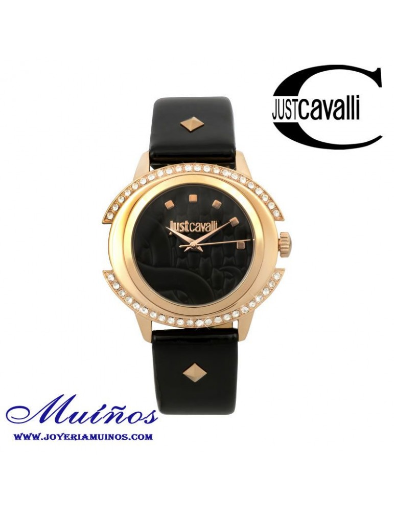Reloj Just Cavalli mujer negro con circonitas en caja