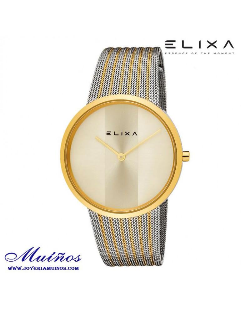 Reloj Elixa Beauty acero correa milanesa bicolor
