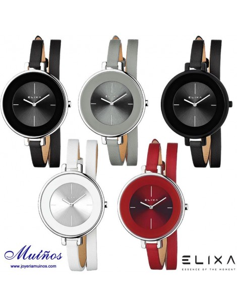 Reloj Elixa de Finesse Collection con correa cuero doble vuelta en diferentes colores.