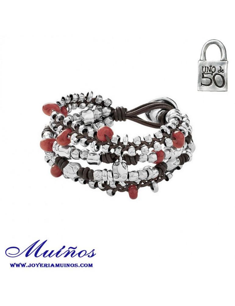 7801fab9577e Pulsera cuero y Plata para Mujer.