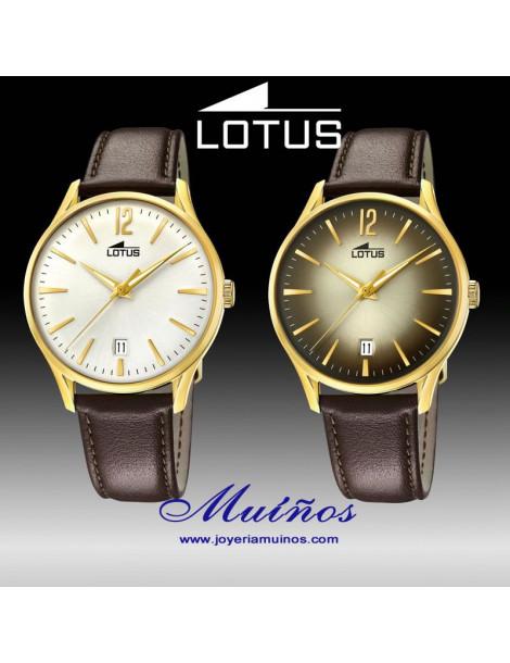 Reloj Lotus Revival hombre caja dorada y correa piel