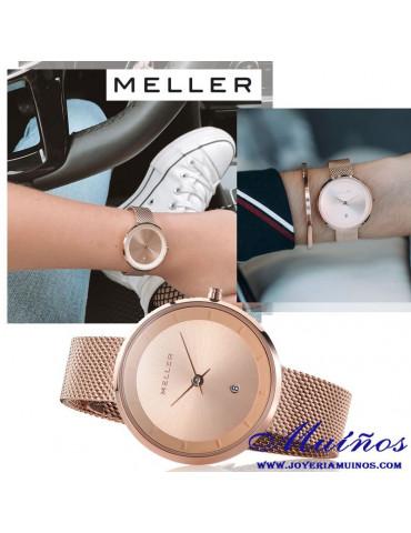 Relojes Meller 34mm Niara acero esterilla milanesa