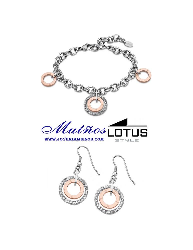 conjunto pulsera y pendientes lotus style aros ls2090