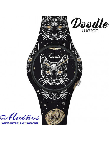 Reloj Tatuaje Gato negro Doodle
