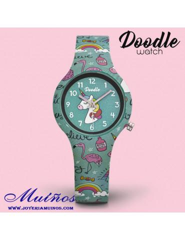 Reloj para niña con flamencos y unicornios