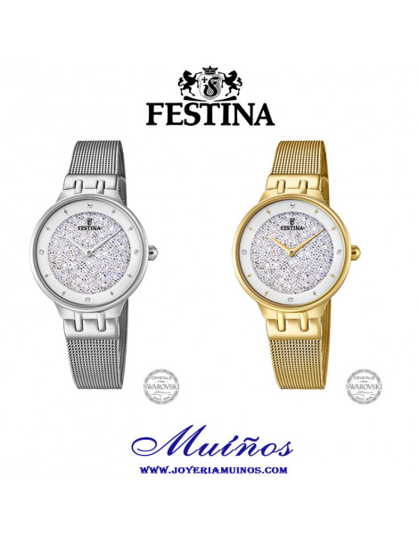 ajuste Acurrucarse pompa  Reloj Festina Mujer Mademoiselle Swarovski F20385/1 F20386/1 Color Plata