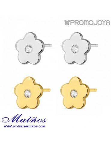 pendientes plata flor promojoya