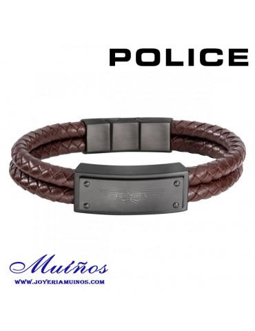 pulsera police cuero