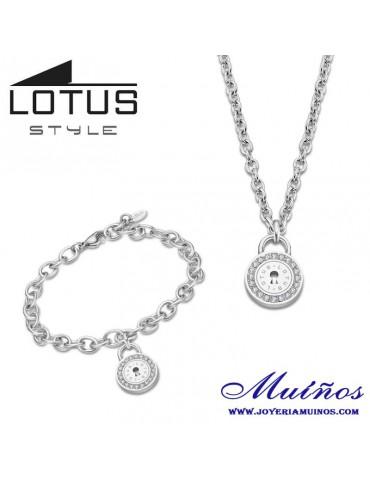 conjunto collar y pulsera candado ls2189 lotus