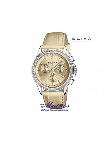 Reloj Elixa Enjoy crono con correa piel y circonitas en esfera