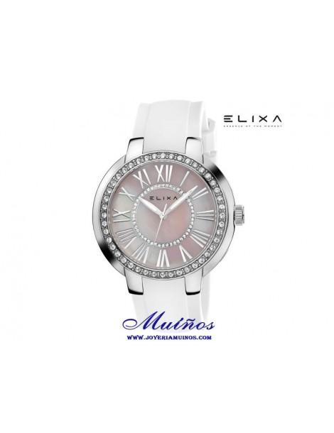 Reloj Elixa Enjoy mujer correa caucho y circonitas