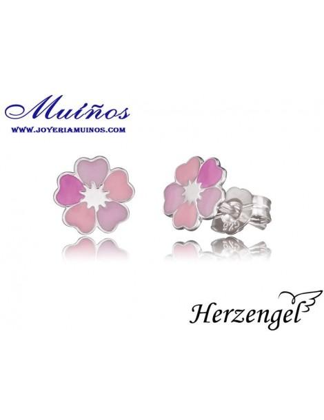 Pendientes plata niña Herzengel flores